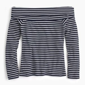 NWT J. Crew Navy White Striped Off Shoulder Top